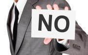 card saying 'no'